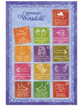 """Carte """"j'apprends le woudou (ablution)"""" version fille"""