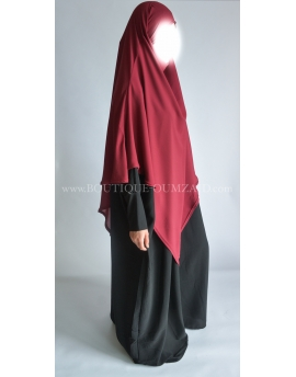 Khimar mousseline - Bordeau - Option niqab