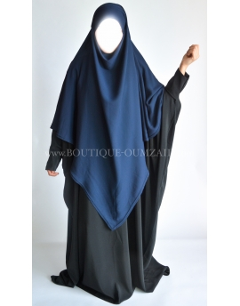 Khimar mousseline - Bleu - Option niqab