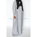 Abaya saoudienne - microfibre opaque - Gris perle