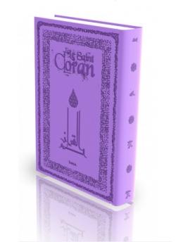 Le Coran - Traduit Et Annoté Par Abdallah Penot - COUVERTURE DAIM CARTONNÉE - BORD ARGENTÉ - COLORIE MAUVE