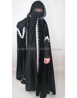 Selham burnouss marocain en velours, noire