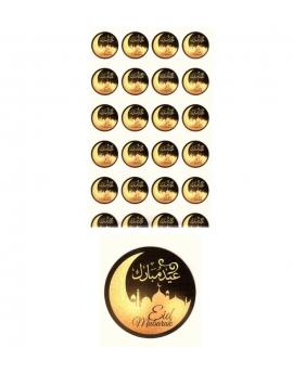 """Lot de 24 autocollants """"Aïd Moubarak"""" bilingue (français/arabe)"""
