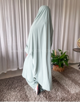 Jilbab sarouel - Soie de medine - Vert d'eau.