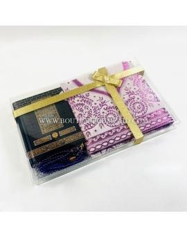 Coffret coran mekkah, tapis, tasbih - Violet