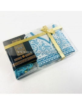 Coffret coran mekkah, tapis, tasbih - Bleu